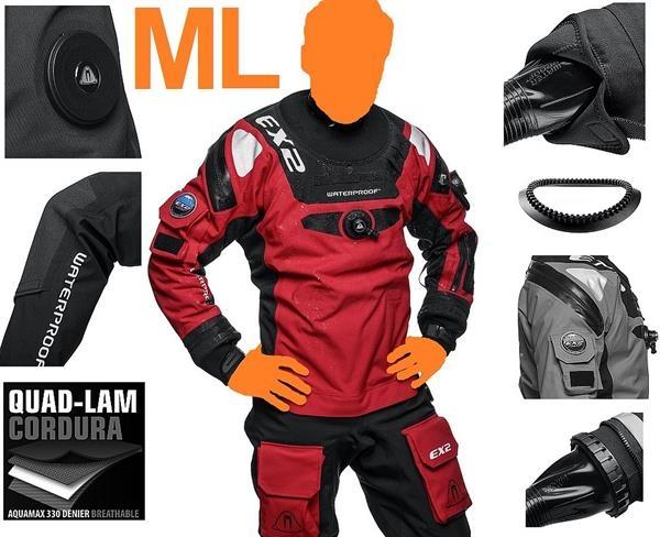 Waterproof EX2 Gr. ML atmungsaktiver Trockentauchanzug Manschetten wechselbar Drysuit