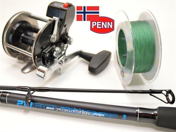 PENN 209LC Multirolle mit Zählwerk + DAM Meeresrute + 330m Schnur Norwegen Set