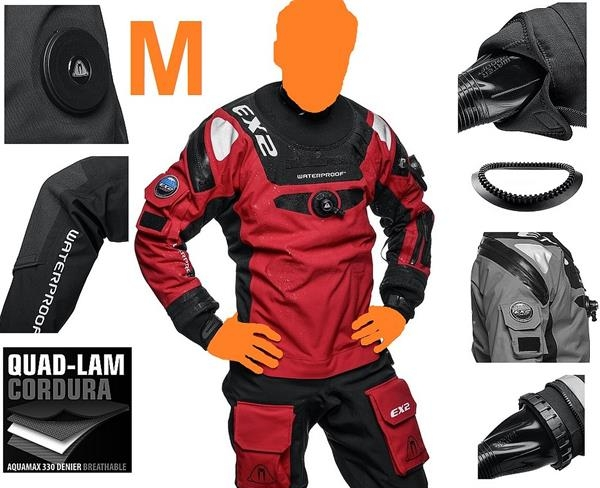 Waterproof EX2 Gr. M atmungsaktiver Trockentauchanzug Manschetten wechselbar Drysuit