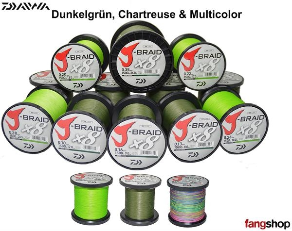 Daiwa J-Braid X8 Chartreuse Dunkelgrün Multicolor ab 50m