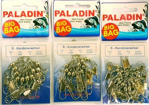 Paladin BIG BAG S Karabinerwirbel nickel 3 Größen Swivel Snap Salzwasser